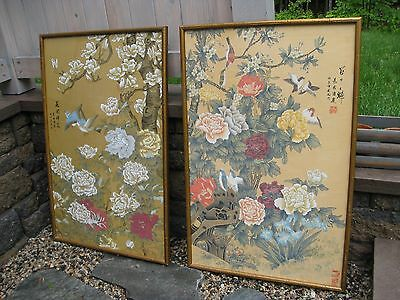 PAIR LARGE CHINESE original paintings on Silk Floral SIGNED + STAMPED beautiful