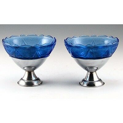 Pair Hazel Atlas Cobalt Blue Royal Lace Peg Sherbet Metal Holder