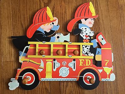 1965 Dolly Toy Company Fire Truck Coat Hanger Wall Rack