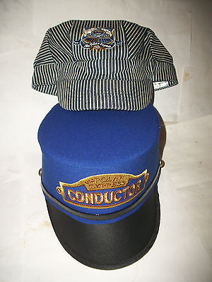 Two Polar Express Conductor Hats Youth Striped Train Railroad