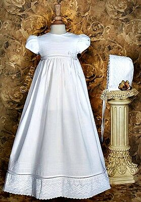 Baby Girls White COTTON CHRISTENING Baptism Gown w/ Intricate Lace Size 0-12M