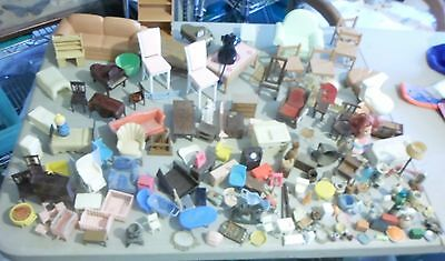 Huge Lot of Vintage and Antique DOLLHOUSE MINIATURES and FURNITURE over 150