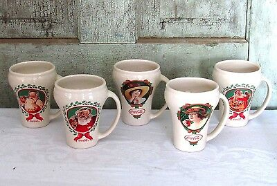 Set of 5 Coca Cola Coke Curvy Advertising Coffee Mugs w Santa & Tray Ladies NEW