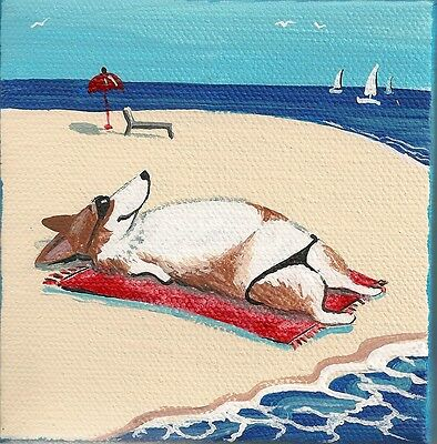4X4 Print Of Painting Ryta Pembroke Welsh Corgi Folk Art Seascape Beach Decor