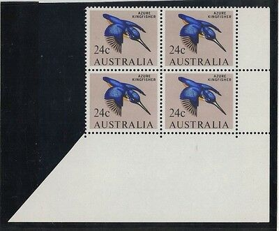 1966 Australia Birds 24 cents variety f retouch over 24 block four 2/2 muh/mlh
