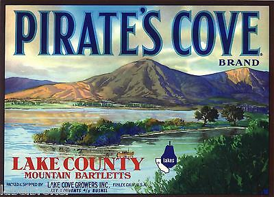 Pear Crate Label Vintage Pirates Cove Finely Landscape Lake County 1950 Original