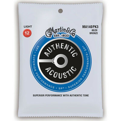3 Pack Martin MA140 Light Acoustic Guitar Strings 12-54 3 Sets Replaces M140