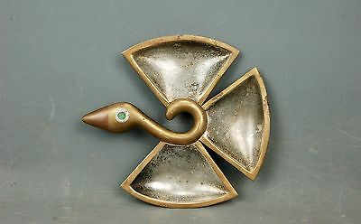 vintage Modernist Brass Copper Silver Bird Tray Dish Los Castillo Taxco Mexico
