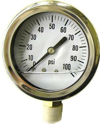 "Green Leaf Lg 100 100  Psi 1/4"" Brass Liquid Filled Water Pressure Gauge 3567591"