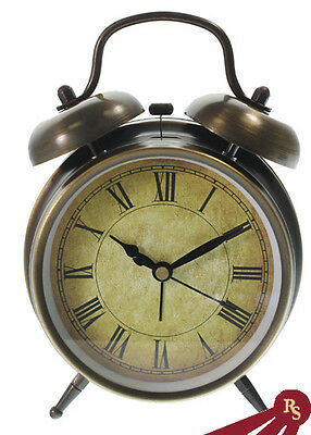 TWIN BELL ALARM CLOCK - Roman Numeral - ANTIQUE STYLE