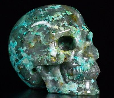 """2.0"""" CHRYSOCOLLA Carved Crystal Skull, Realistic, Crystal Healing #S642"""