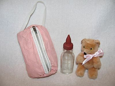 Vintage American Character Tiny Tears Baby Doll Bottle & Bag & Teddy