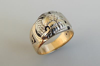 VTG MASONIC SCOTTISH RITE 10K YELLOW & WHITE GOLD 32ND DEGREE Bennett ring sz 8