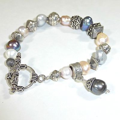Silpada Gray Pink Freshwater Pearl 925 Sterling Silver Bracelet B0986 Rare