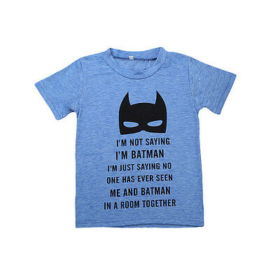 Batman Toddler Baby Boy Kids Cotton T-shirt Tops Casual Short Sleeve Tee Blouse