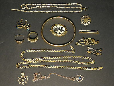 LOT OF 15x PIECES - ALL Gold Filled Antique Victorian Jewelry Rings Brooches
