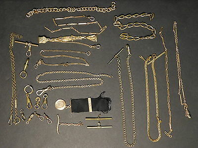 LOT OF 24x PIECES - Antique Victorian Gold Filled Pocket Watch Chains & Fobs