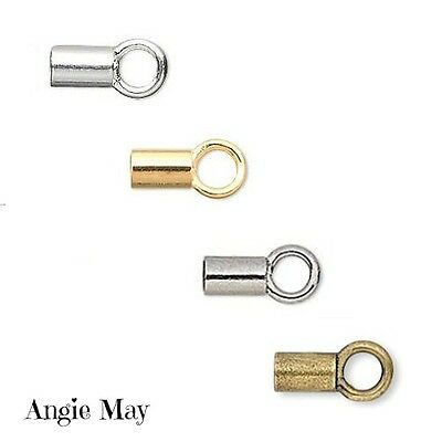 24 100 Gold Silver Gunmetal Plated Brass Crimp Tube With Loop 3.5 x 2mm Cord End