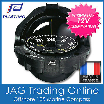 PLASTIMO OFFSHORE 105 BLACK POWERBOAT FLUSH COMPASS & 12V LIGHTING - Boat/Marine