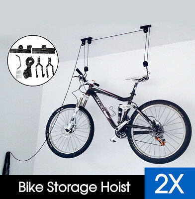 2x NEW STORAGE HOIST PULLEY SYSTEM FOR BIKES & SURFBOARDS- MOUNTS FROM CEILING