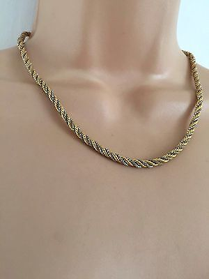 Vintage 80's Lovely 18K Gold Plated & Silver Tone Rope Chain Choker Necklace