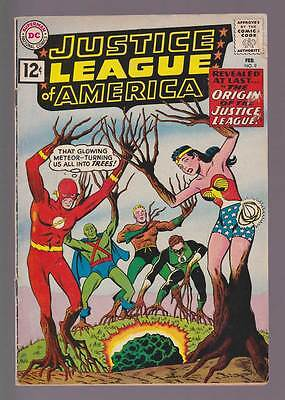 Justice League of America # 9  Origin of the JLA !  grade 4.0 scarce book !