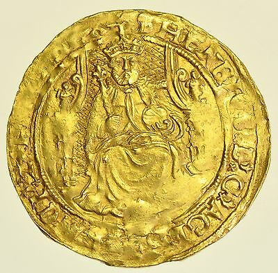 RARE HENRY VIII HALF SOVEREIGN (1544-7), mm. S ϵ BELOW SHIELD HAMMERED GOLD COIN