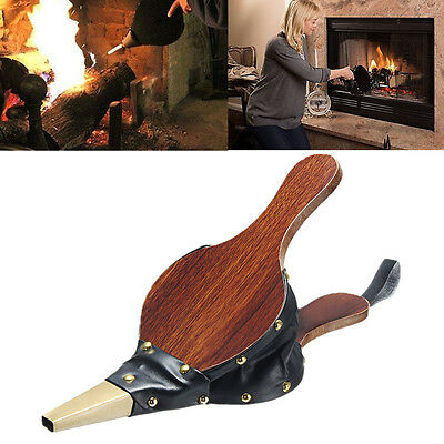 Traditional Stove Fire Lighter Fan Vintage Bellows Dark Brown Fireplace Blower