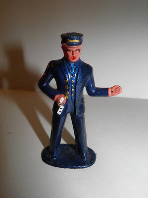 Vintage Manoil Lead Toy Figure - Train Conductor With Tickets