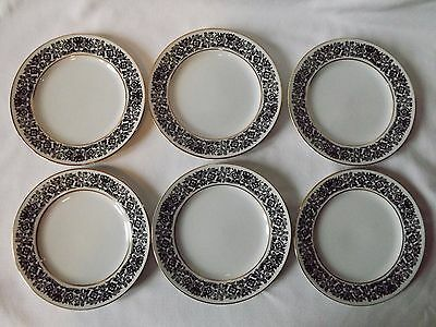 "Vtg. Style House Fine China ""Avalon"" Set Of 6 Bread & Butter Plates Black Floral"