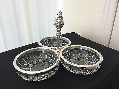 vintage three section glass serving dish with handle & silver rims