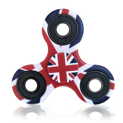 UK British Flag Hand Finger Tri Spinner Fidget Focus Gyro EDC Stress Relief ADHD