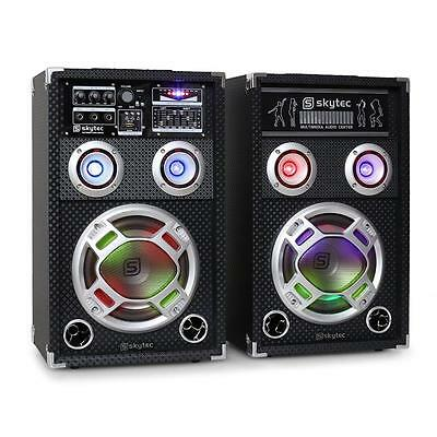 "Party Karaoke Speaker Pair Active/passive Set 8"" Woofer 3 Band Eq Led 600W Pp"