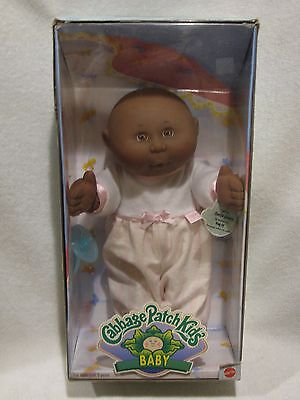 """Adorable 13"""" Black Bald Headed Cabbage Patch Baby Girl Doll In Box"""