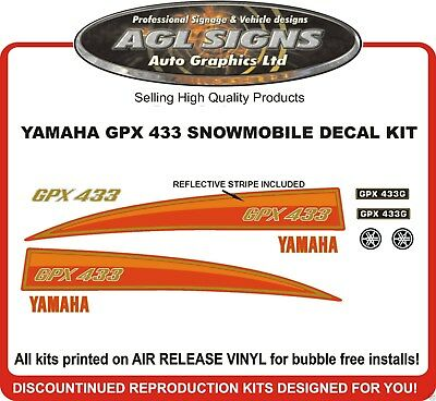 YAMAHA GPX 433  Snowmobile Decal Kit  GPX433 reproduction  mid 70's