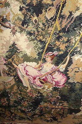 "Beautiful Needlepoint Tapestry L'Escarpolette THE SWING after Fragonard 29""X42"""