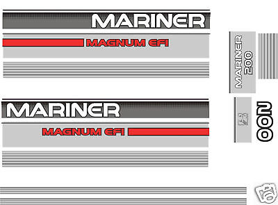 1990's MERCURY MARINER 200 MAGNUM EFI DECALS, MERC OUTBOARD  150 hp also