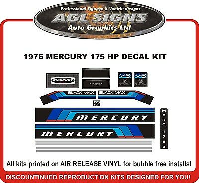 1976  MERCURY MARINE 175 hp V6 DECALS, MERC BLACK MAX 1750