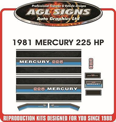 1981 MERCURY 225 hp  BLACK MAX Outboard Decal Set Reproductions