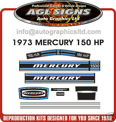 1973  MERCURY MARINE 150 hp 6cyl DECAL SET  MERC 1500