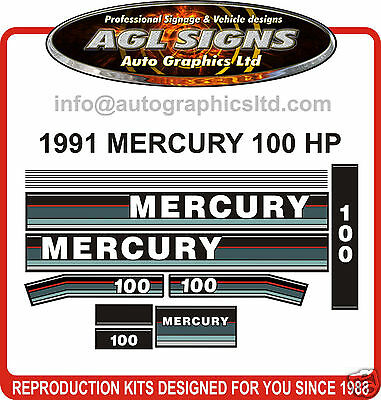 1991 1992 1993 MERCURY 100  HP Outboard Decal Set  reproductions