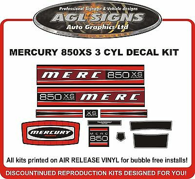MERCURY MARINE 850 XS DECALS 3 CYL MODEL   MERC OUTBOARD 85 reproductions