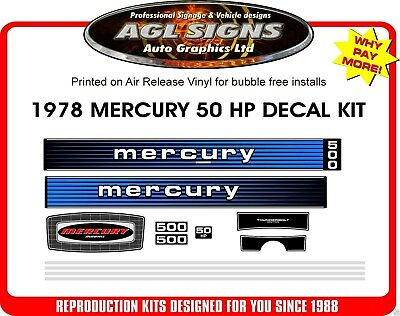 1978 MERCURY 500 DECALS  50 hp outboard  reproduction sticker