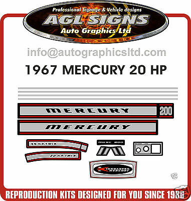 1967 MERCURY 20 hp DECAL KIT ,  MERC OUTBOARD  sticker 35 hp also