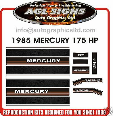 1985 MERCURY 175 BLACK MAX V6 Outboard Decals reproductions