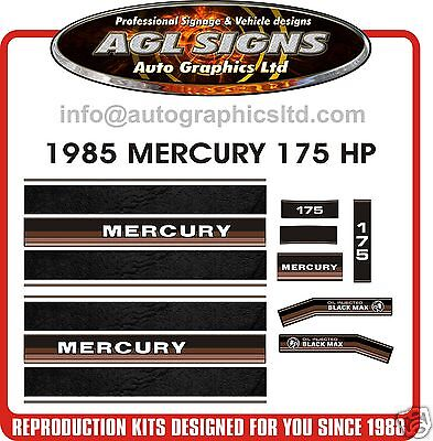 Mercury 175 Black Max V6 Decals 1985  Reproduction, Oil Injection Available