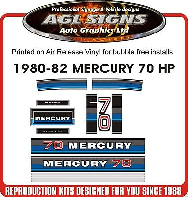 1980 1981 1982  MERCURY 70 hp OUTBOARD DECALS, reproductions stickers