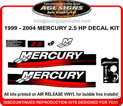 MERCURY 2.5 HP OUTBOARD DECAL KIT 1999 2000 2001 2002 2003 2004  reproductions