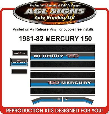 1981 1982  MERCURY 150 BLACK MAX OUTBOARD DECAL SET reproduction 175 200
