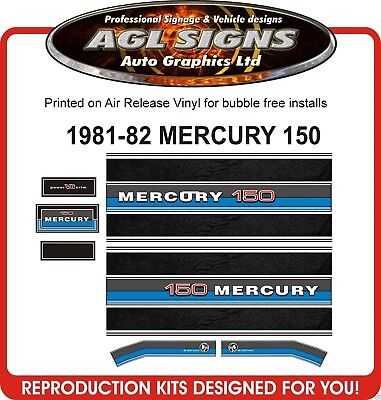1981 - 1982  MERCURY 150 BLACK MAX OUTBOARD DECAL SET reproduction 175 200